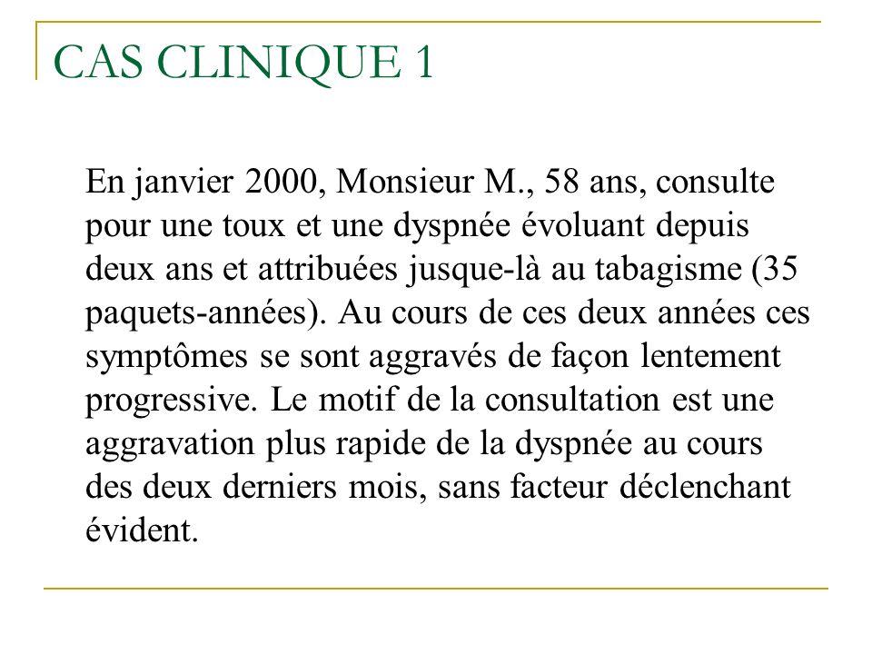 CAS CLINIQUE 1 En janvier 2000, Monsieur M., 58 ans, consulte pour une toux et une dyspnée évoluant depuis deux ans et attribuées jusque-là au tabagis