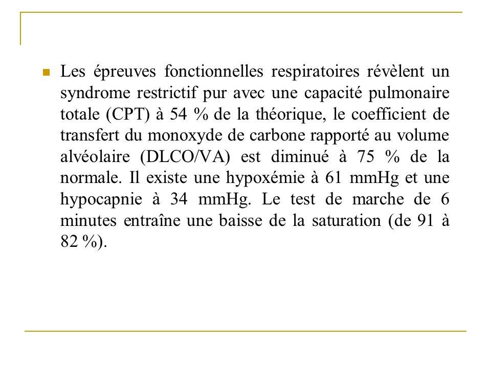 Les épreuves fonctionnelles respiratoires révèlent un syndrome restrictif pur avec une capacité pulmonaire totale (CPT) à 54 % de la théorique, le coe