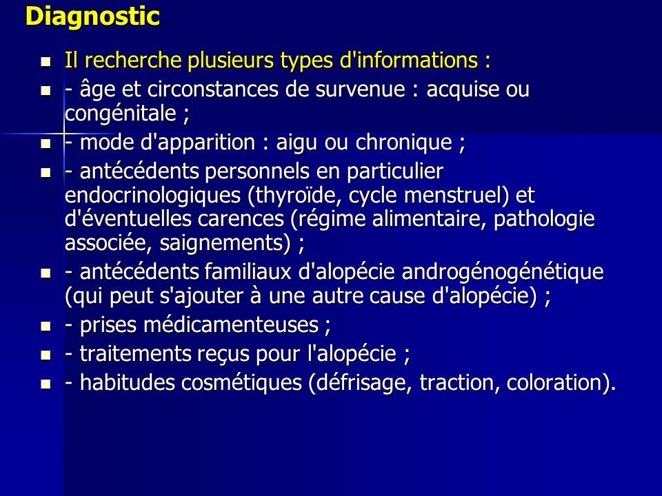 Diagnostic Il recherche plusieurs types d informations : Il recherche plusieurs types d informations : - âge et circonstances de survenue : acquise ou congénitale ; - âge et circonstances de survenue : acquise ou congénitale ; - mode d apparition : aigu ou chronique ; - mode d apparition : aigu ou chronique ; - antécédents personnels en particulier endocrinologiques (thyroïde, cycle menstruel) et d éventuelles carences (régime alimentaire, pathologie associée, saignements) ; - antécédents personnels en particulier endocrinologiques (thyroïde, cycle menstruel) et d éventuelles carences (régime alimentaire, pathologie associée, saignements) ; - antécédents familiaux d alopécie androgénogénétique (qui peut s ajouter à une autre cause d alopécie) ; - antécédents familiaux d alopécie androgénogénétique (qui peut s ajouter à une autre cause d alopécie) ; - prises médicamenteuses ; - prises médicamenteuses ; - traitements reçus pour l alopécie ; - traitements reçus pour l alopécie ; - habitudes cosmétiques (défrisage, traction, coloration).