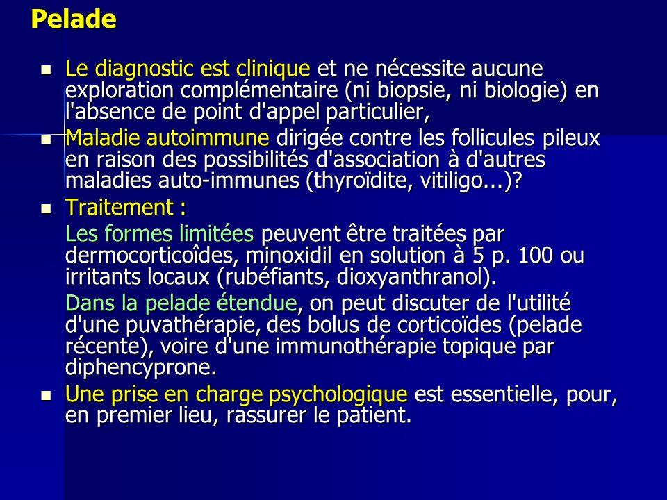 Pelade Le diagnostic est clinique et ne nécessite aucune exploration complémentaire (ni biopsie, ni biologie) en l'absence de point d'appel particulie