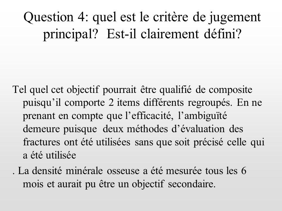 Question 4: quel est le critère de jugement principal? Est-il clairement défini? Tel quel cet objectif pourrait être qualifié de composite puisquil co