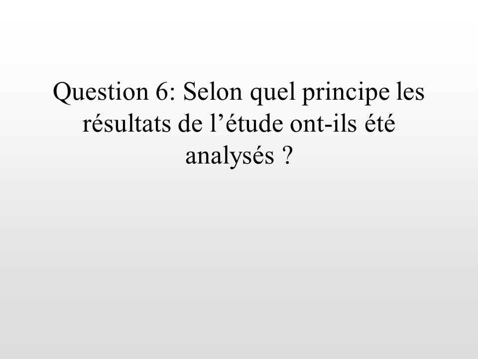 Question 6: Selon quel principe les résultats de létude ont-ils été analysés ?