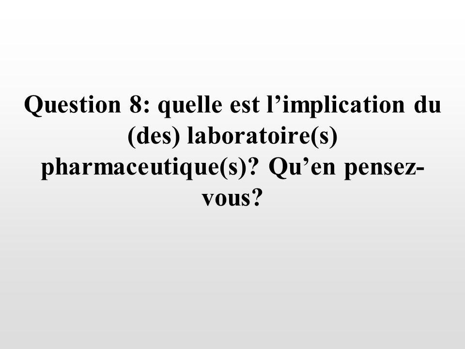 Question 8: quelle est limplication du (des) laboratoire(s) pharmaceutique(s)? Quen pensez- vous?