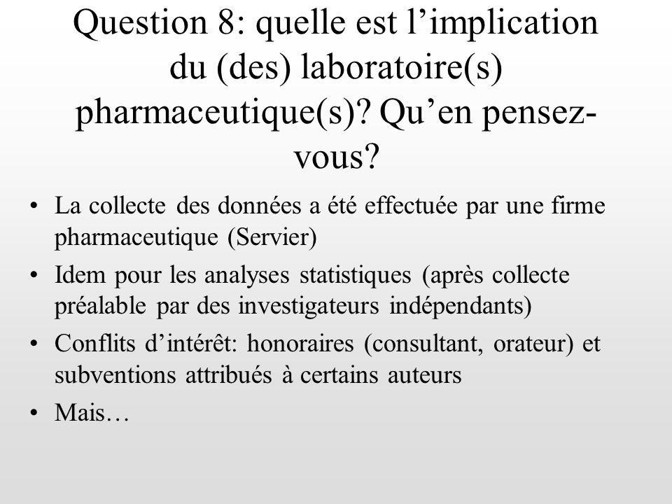 La collecte des données a été effectuée par une firme pharmaceutique (Servier) Idem pour les analyses statistiques (après collecte préalable par des i