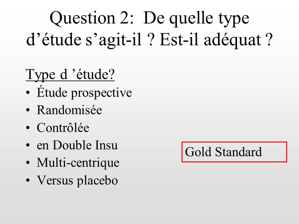 Question 2: De quelle type détude sagit-il ? Est-il adéquat ? Type d étude? Étude prospective Randomisée Contrôlée en Double Insu Multi-centrique Vers