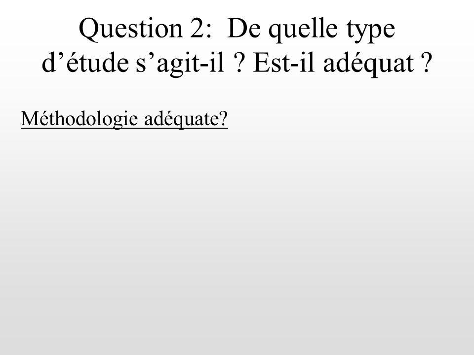 Question 2: De quel type détude sagit-il .Est-il adéquat .