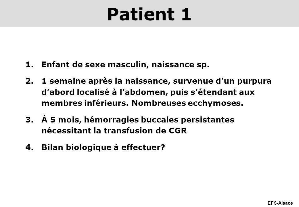 EFS-Alsace 1.Enfant de sexe masculin, naissance sp. 2.1 semaine après la naissance, survenue dun purpura dabord localisé à labdomen, puis sétendant au