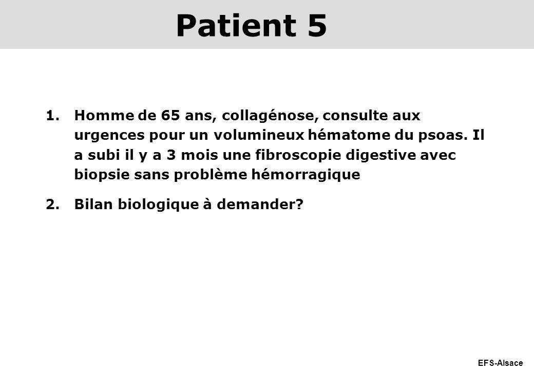 EFS-Alsace 1.Homme de 65 ans, collagénose, consulte aux urgences pour un volumineux hématome du psoas. Il a subi il y a 3 mois une fibroscopie digesti