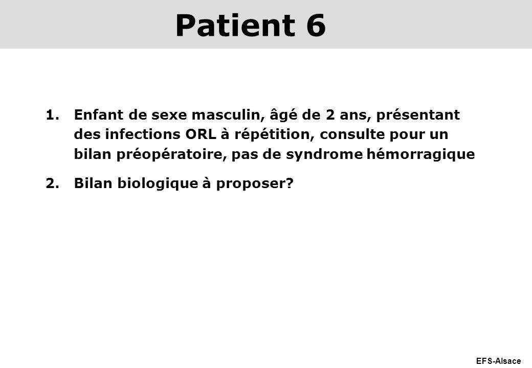 EFS-Alsace 1.Enfant de sexe masculin, âgé de 2 ans, présentant des infections ORL à répétition, consulte pour un bilan préopératoire, pas de syndrome