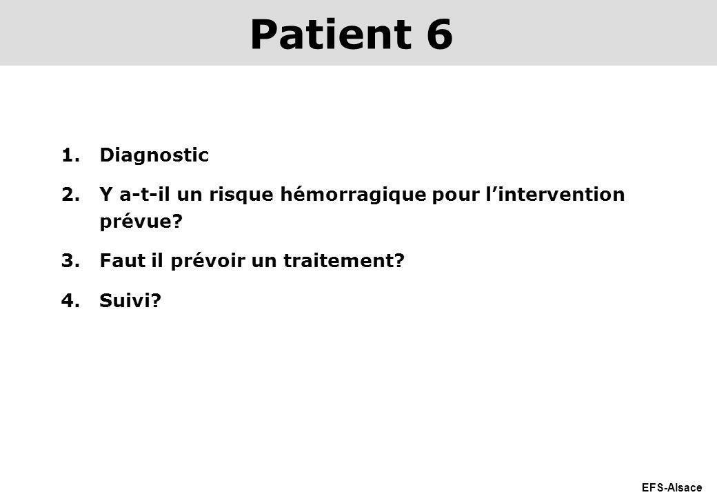 EFS-Alsace 1.Diagnostic 2.Y a-t-il un risque hémorragique pour lintervention prévue? 3.Faut il prévoir un traitement? 4.Suivi? Patient 6