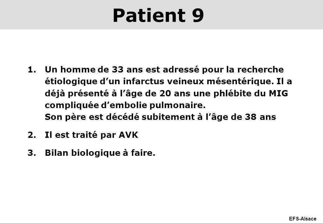 EFS-Alsace 1.Un homme de 33 ans est adressé pour la recherche étiologique dun infarctus veineux mésentérique. Il a déjà présenté à lâge de 20 ans une
