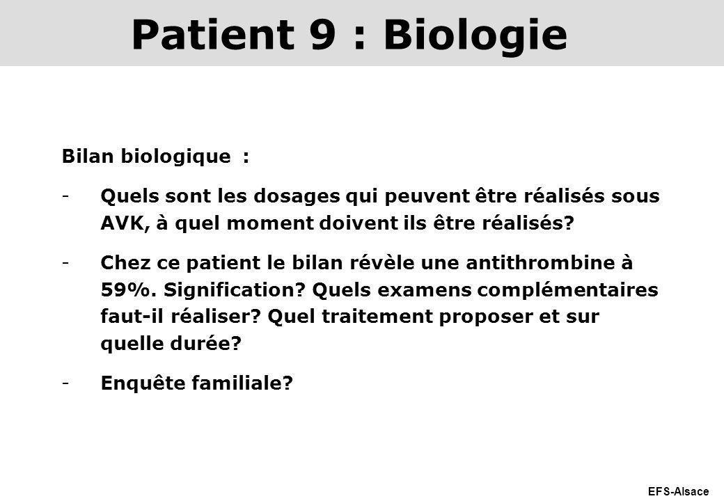 EFS-Alsace Bilan biologique : -Quels sont les dosages qui peuvent être réalisés sous AVK, à quel moment doivent ils être réalisés? -Chez ce patient le