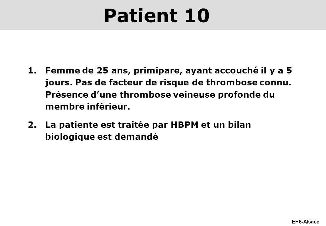 EFS-Alsace 1.Femme de 25 ans, primipare, ayant accouché il y a 5 jours. Pas de facteur de risque de thrombose connu. Présence dune thrombose veineuse