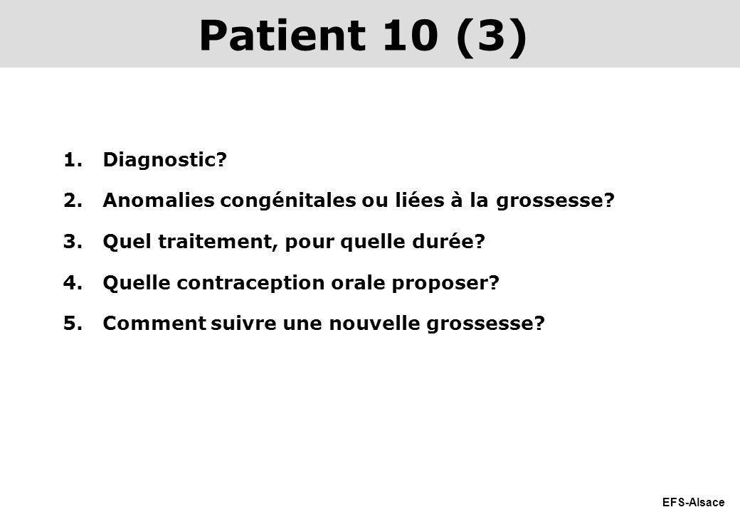 EFS-Alsace 1.Diagnostic? 2.Anomalies congénitales ou liées à la grossesse? 3.Quel traitement, pour quelle durée? 4.Quelle contraception orale proposer