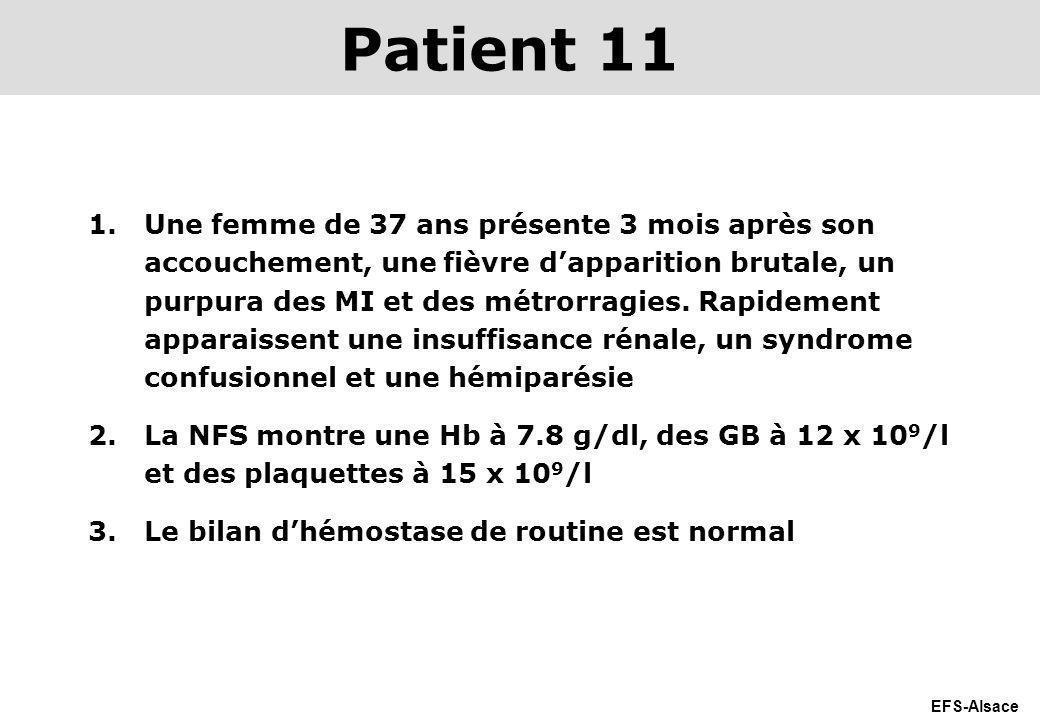 EFS-Alsace 1.Une femme de 37 ans présente 3 mois après son accouchement, une fièvre dapparition brutale, un purpura des MI et des métrorragies. Rapide