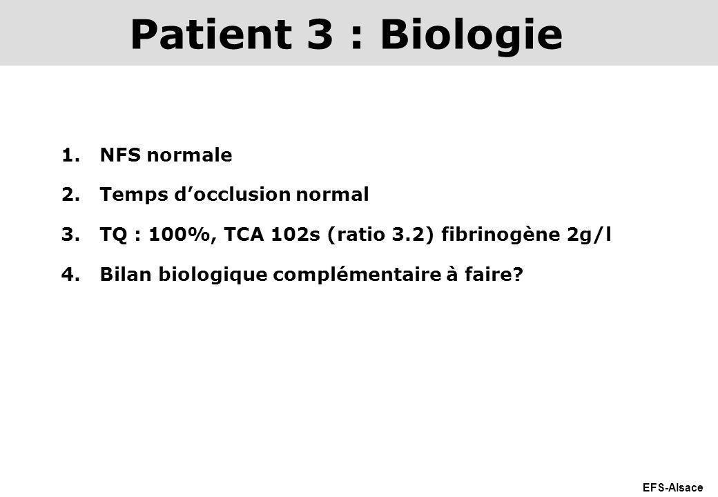 EFS-Alsace 1.NFS normale 2.Temps docclusion normal 3.TQ : 100%, TCA 102s (ratio 3.2) fibrinogène 2g/l 4.Bilan biologique complémentaire à faire? Patie