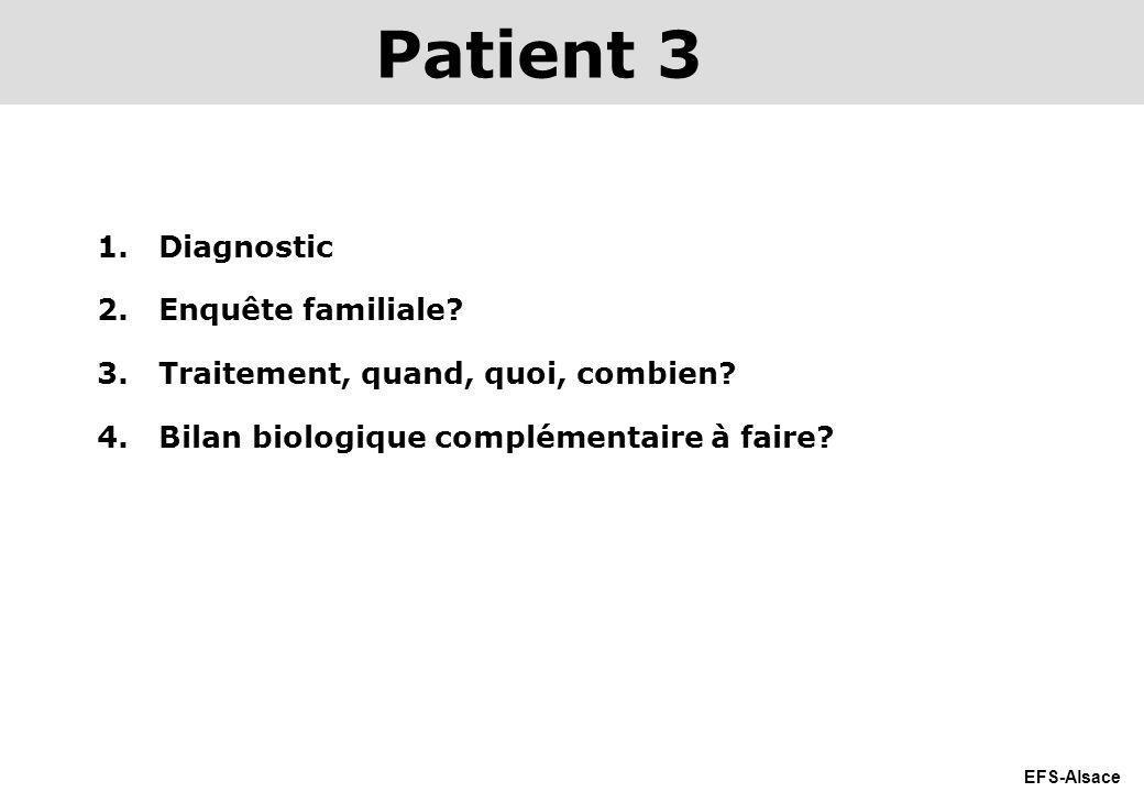 EFS-Alsace 1.Diagnostic 2.Enquête familiale? 3.Traitement, quand, quoi, combien? 4.Bilan biologique complémentaire à faire? Patient 3