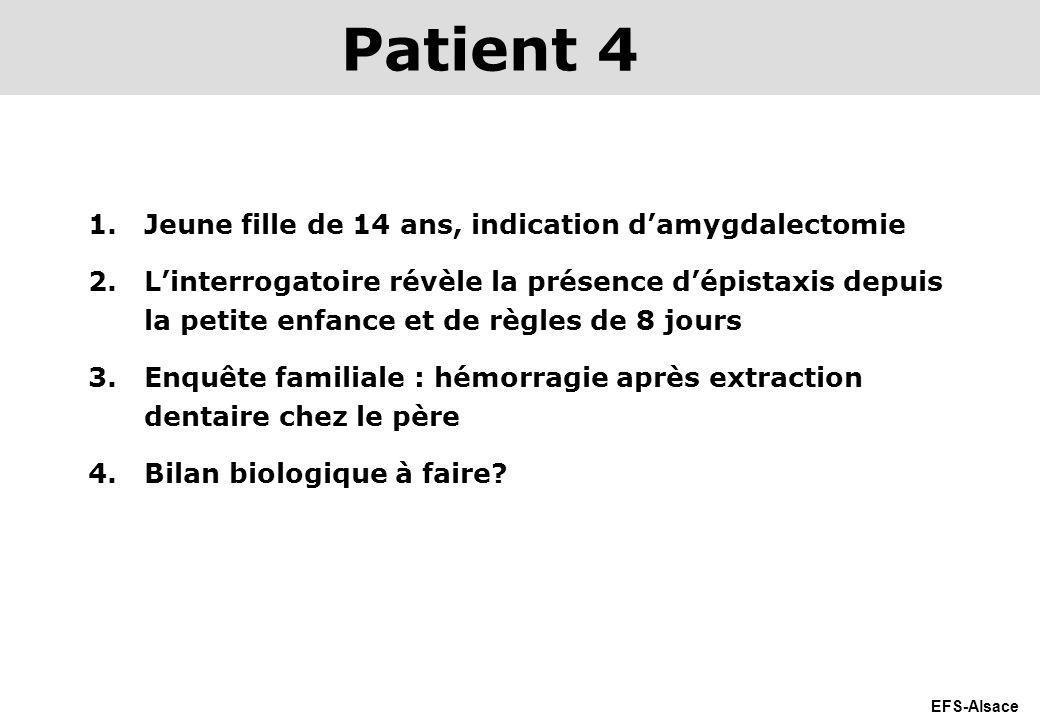 EFS-Alsace 1.Jeune fille de 14 ans, indication damygdalectomie 2.Linterrogatoire révèle la présence dépistaxis depuis la petite enfance et de règles d