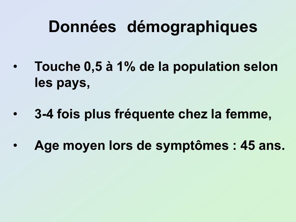 Touche 0,5 à 1% de la population selon les pays, 3-4 fois plus fréquente chez la femme, Age moyen lors de symptômes : 45 ans. Données démographiques
