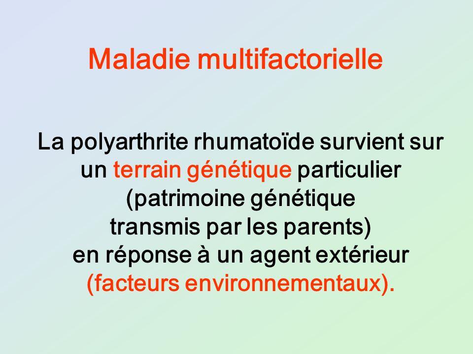 La polyarthrite rhumatoïde survient sur un terrain génétique particulier (patrimoine génétique transmis par les parents) en réponse à un agent extérie