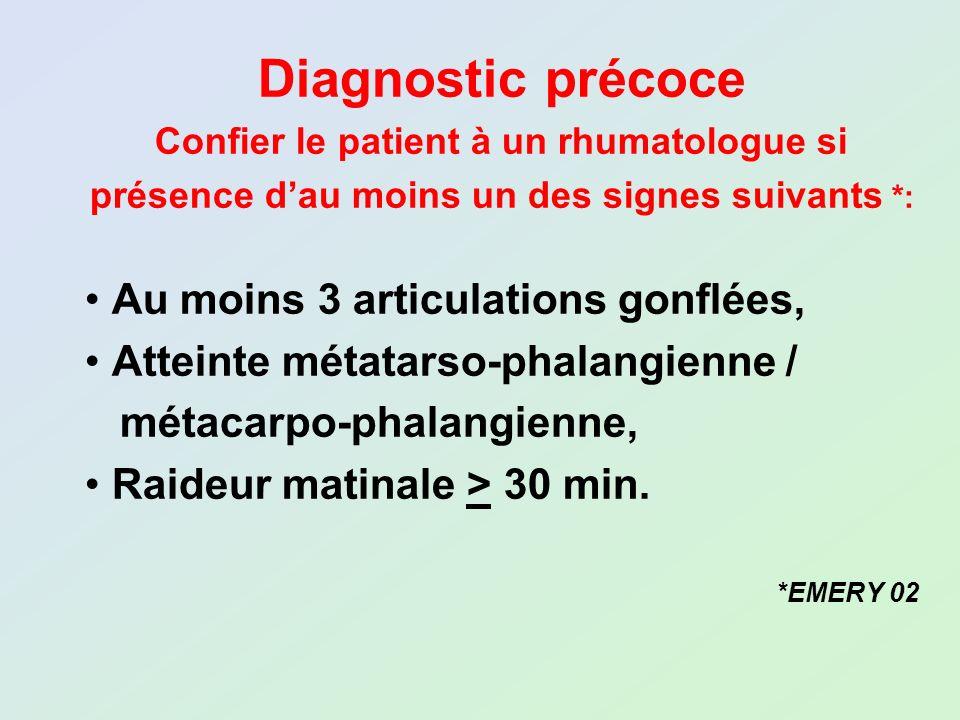 Diagnostic précoce Confier le patient à un rhumatologue si présence dau moins un des signes suivants *: Au moins 3 articulations gonflées, Atteinte mé