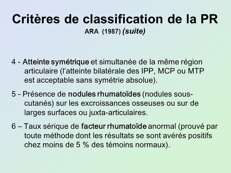 Critères de classification de la PR ARA (1987) (suite) 4 - Atteinte symétrique et simultanée de la même région articulaire (latteinte bilatérale des I
