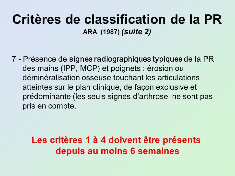Critères de classification de la PR ARA (1987) (suite 2) 7 - Présence de signes radiographiques typiques de la PR des mains (IPP, MCP) et poignets : é