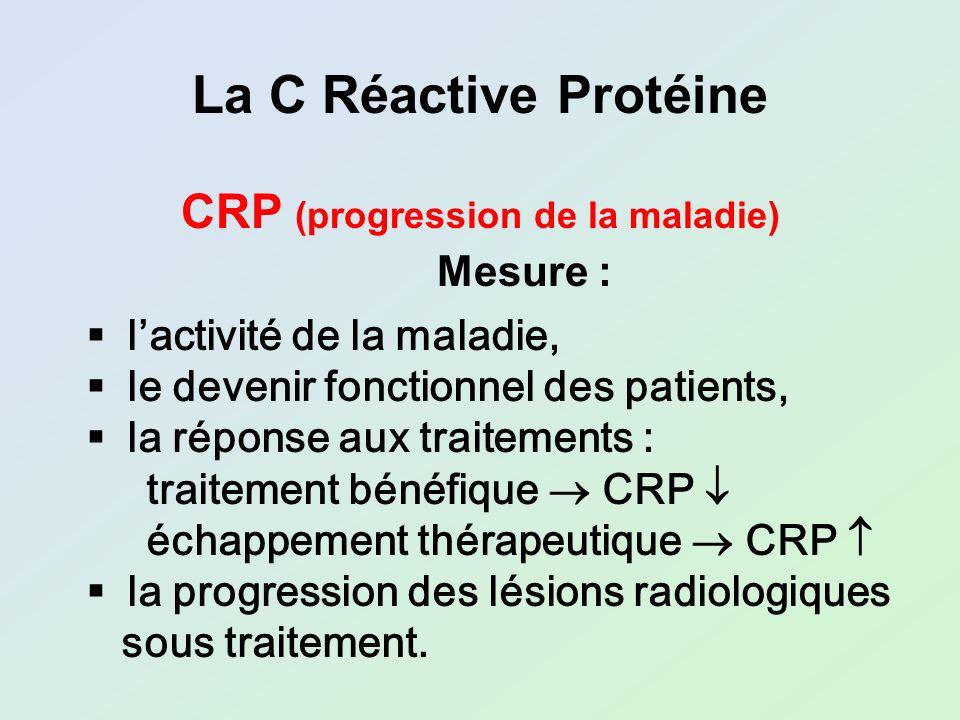 lactivité de la maladie, le devenir fonctionnel des patients, la réponse aux traitements : traitement bénéfique CRP échappement thérapeutique CRP la p