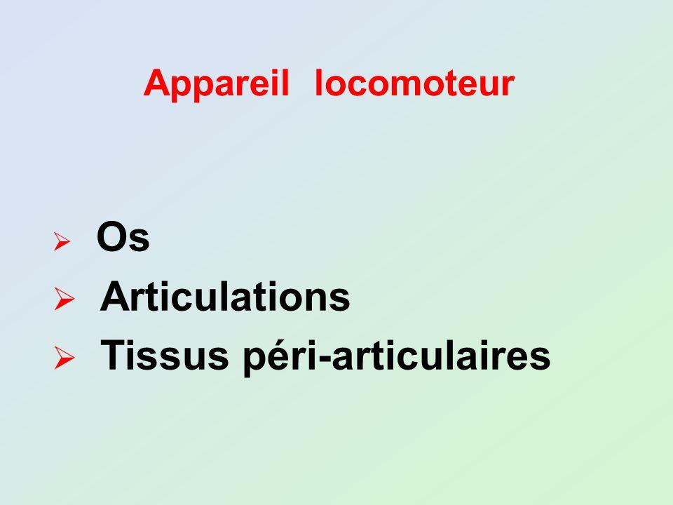 Appareil locomoteur Os Articulations Tissus péri-articulaires