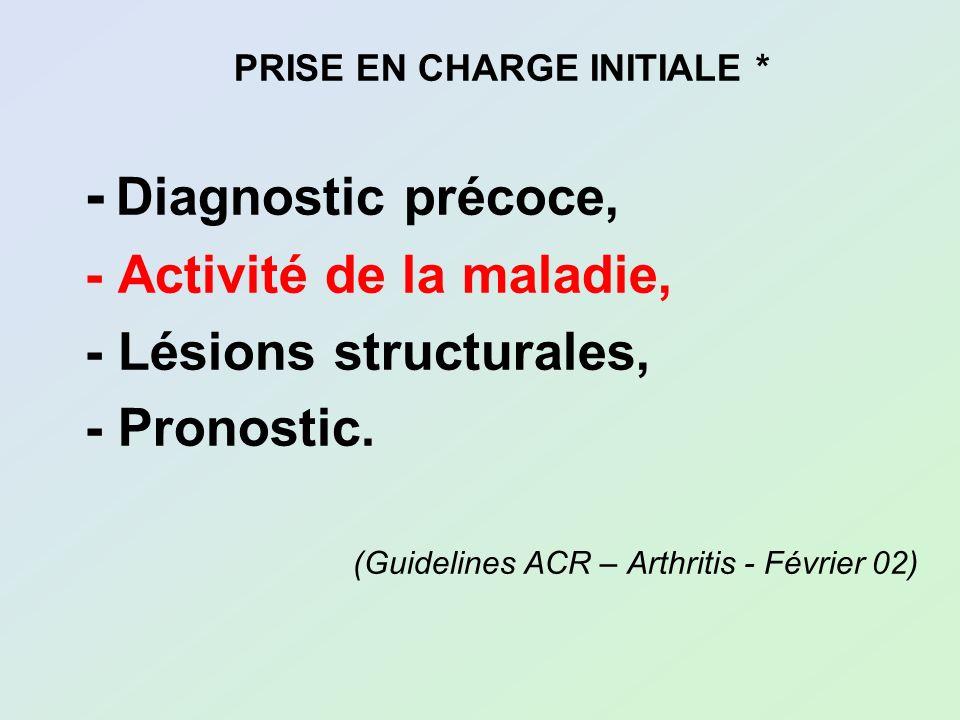 PRISE EN CHARGE INITIALE * - Diagnostic précoce, - Activité de la maladie, - Lésions structurales, - Pronostic. (Guidelines ACR – Arthritis - Février