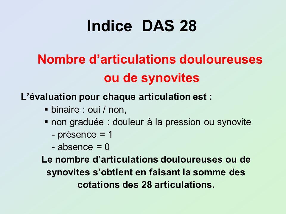 Lévaluation pour chaque articulation est : binaire : oui / non, non graduée : douleur à la pression ou synovite - présence = 1 - absence = 0 Le nombre