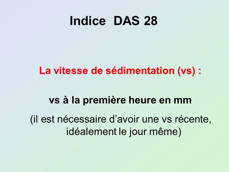 vs à la première heure en mm (il est nécessaire davoir une vs récente, idéalement le jour même) Indice DAS 28 La vitesse de sédimentation (vs) :