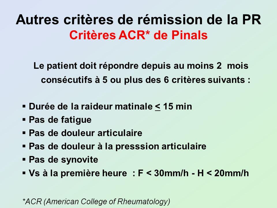 Le patient doit répondre depuis au moins 2 mois consécutifs à 5 ou plus des 6 critères suivants : Durée de la raideur matinale < 15 min Pas de fatigue
