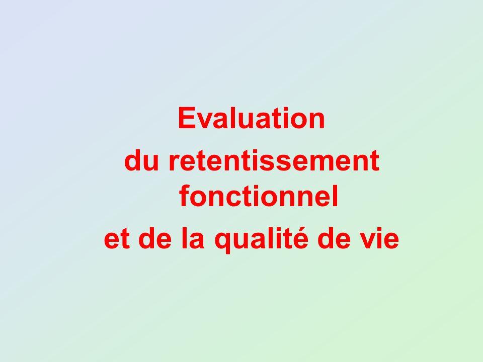 Evaluation du retentissement fonctionnel et de la qualité de vie