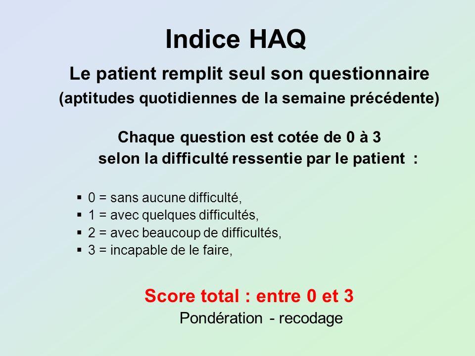 Chaque question est cotée de 0 à 3 selon la difficulté ressentie par le patient : 0 = sans aucune difficulté, 1 = avec quelques difficultés, 2 = avec