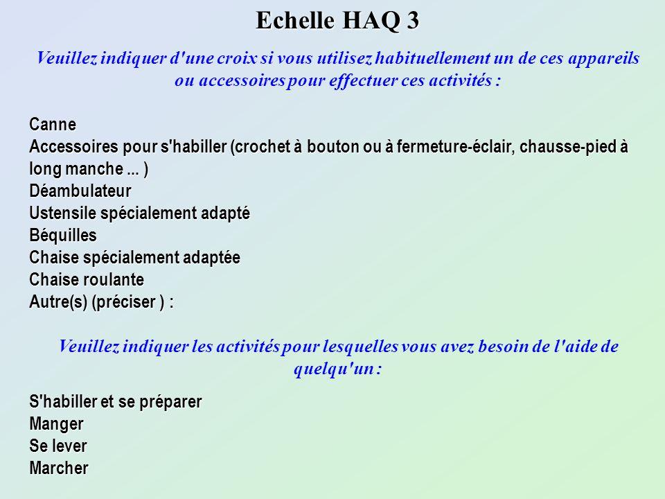 Echelle HAQ 3 Veuillez indiquer d'une croix si vous utilisez habituellement un de ces appareils ou accessoires pour effectuer ces activités :Canne Acc