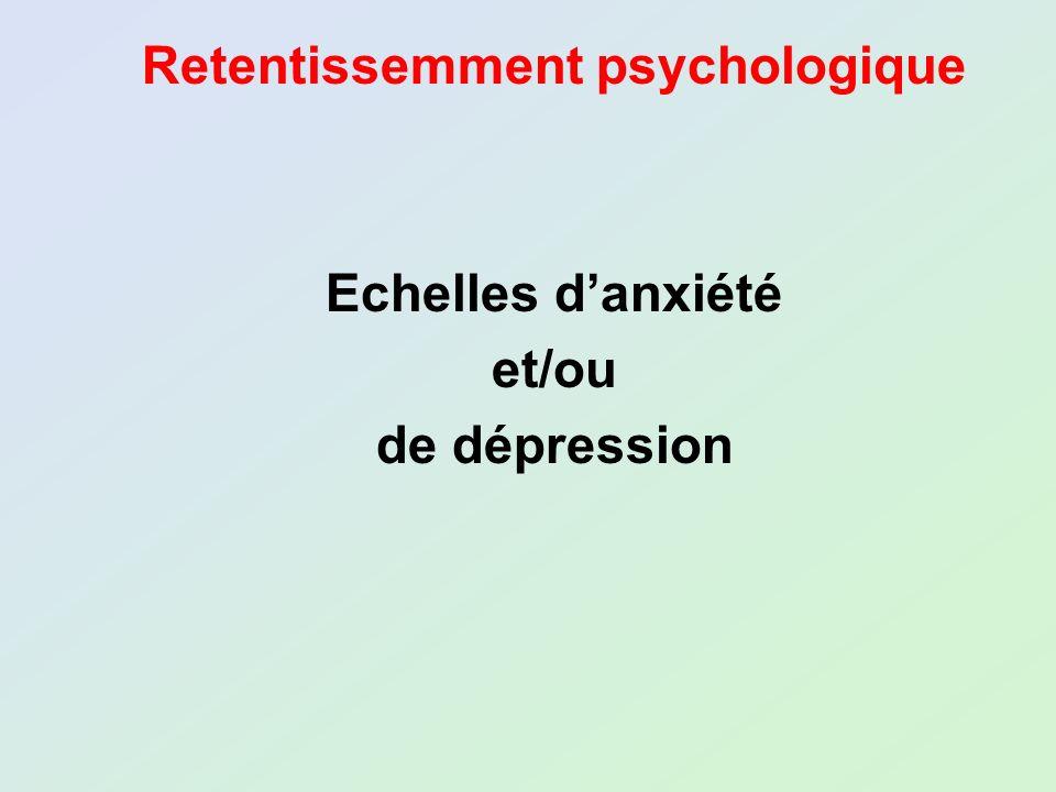 Retentissemment psychologique Echelles danxiété et/ou de dépression