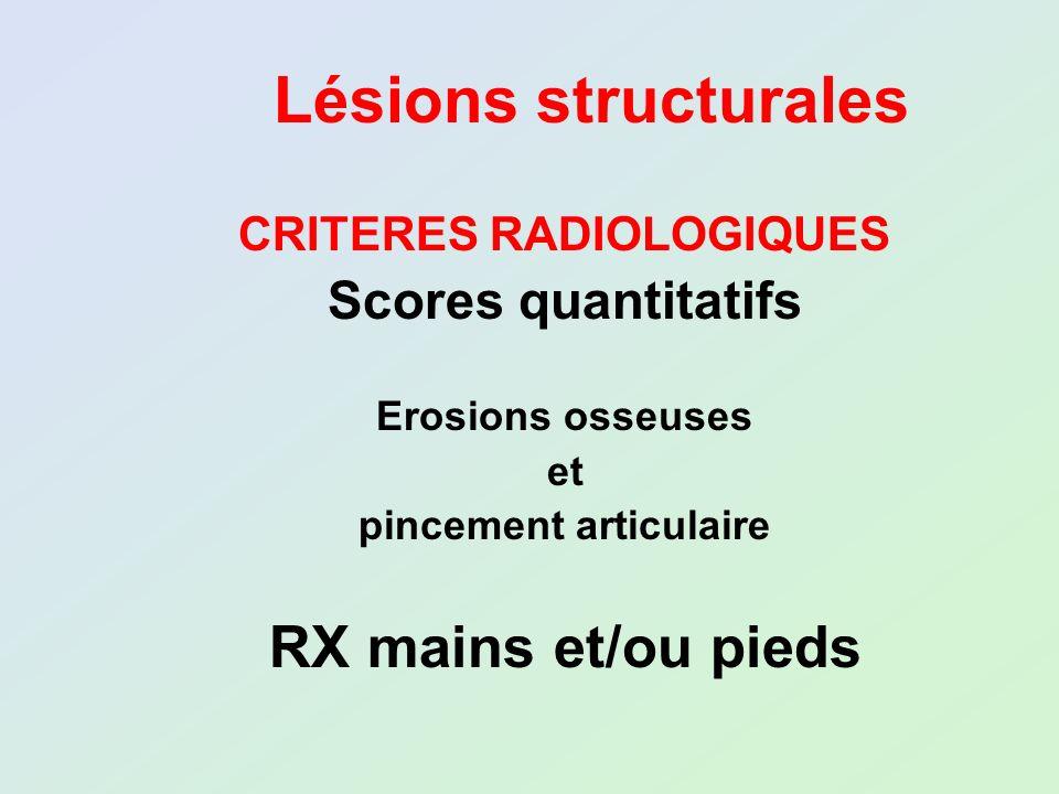 Lésions structurales CRITERES RADIOLOGIQUES Scores quantitatifs Erosions osseuses et pincement articulaire RX mains et/ou pieds