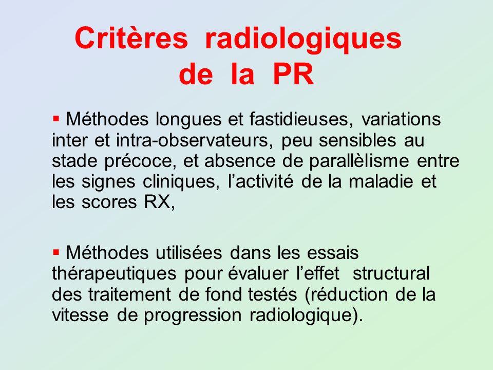 Critères radiologiques de la PR Méthodes longues et fastidieuses, variations inter et intra-observateurs, peu sensibles au stade précoce, et absence d