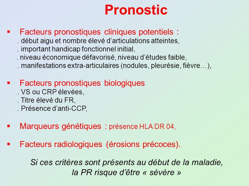 Pronostic Facteurs pronostiques cliniques potentiels :. début aigu et nombre élevé darticulations atteintes,. important handicap fonctionnel initial,.