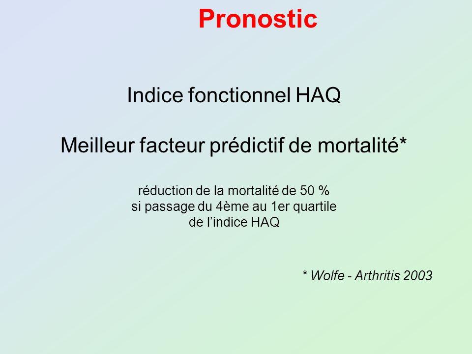 Pronostic Indice fonctionnel HAQ Meilleur facteur prédictif de mortalité* réduction de la mortalité de 50 % si passage du 4ème au 1er quartile de lind
