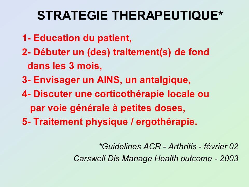 STRATEGIE THERAPEUTIQUE* 1- Education du patient, 2- Débuter un (des) traitement(s) de fond dans les 3 mois, 3- Envisager un AINS, un antalgique, 4- D