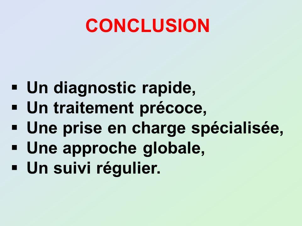 CONCLUSION Un diagnostic rapide, Un traitement précoce, Une prise en charge spécialisée, Une approche globale, Un suivi régulier.