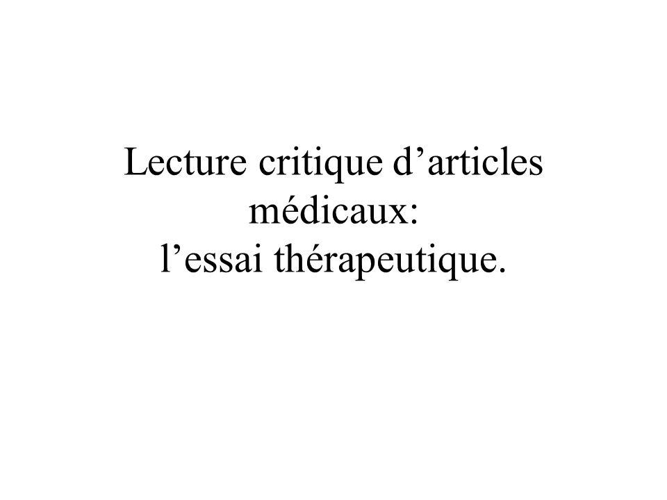 Lecture critique darticles médicaux: lessai thérapeutique.