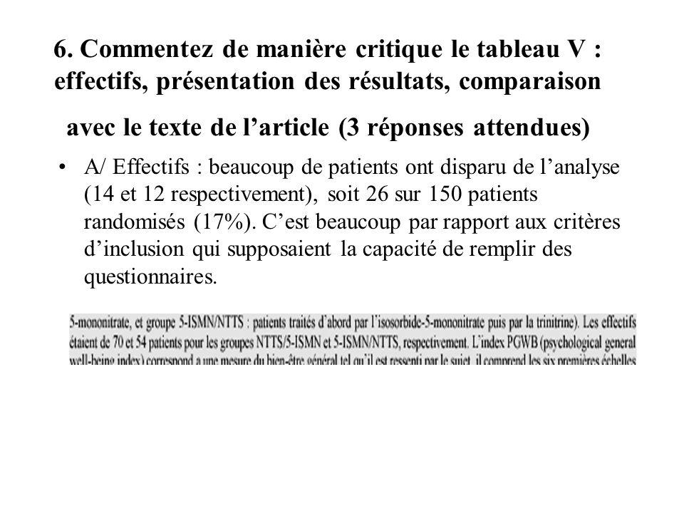 6. Commentez de manière critique le tableau V : effectifs, présentation des résultats, comparaison avec le texte de larticle (3 réponses attendues) A/