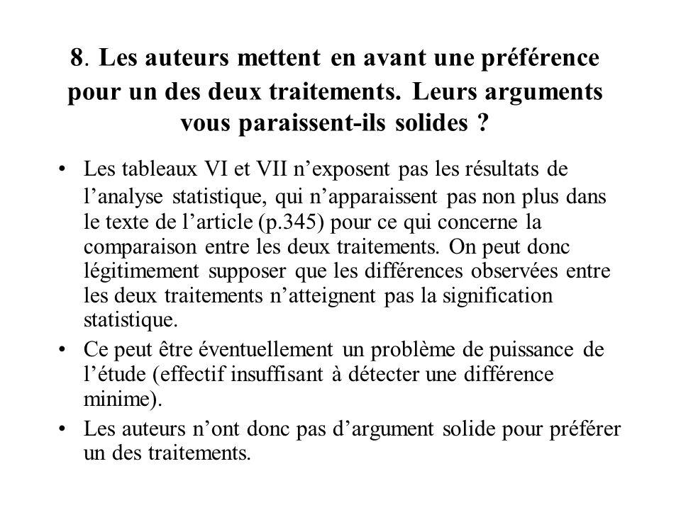 8. Les auteurs mettent en avant une préférence pour un des deux traitements. Leurs arguments vous paraissent-ils solides ? Les tableaux VI et VII nexp