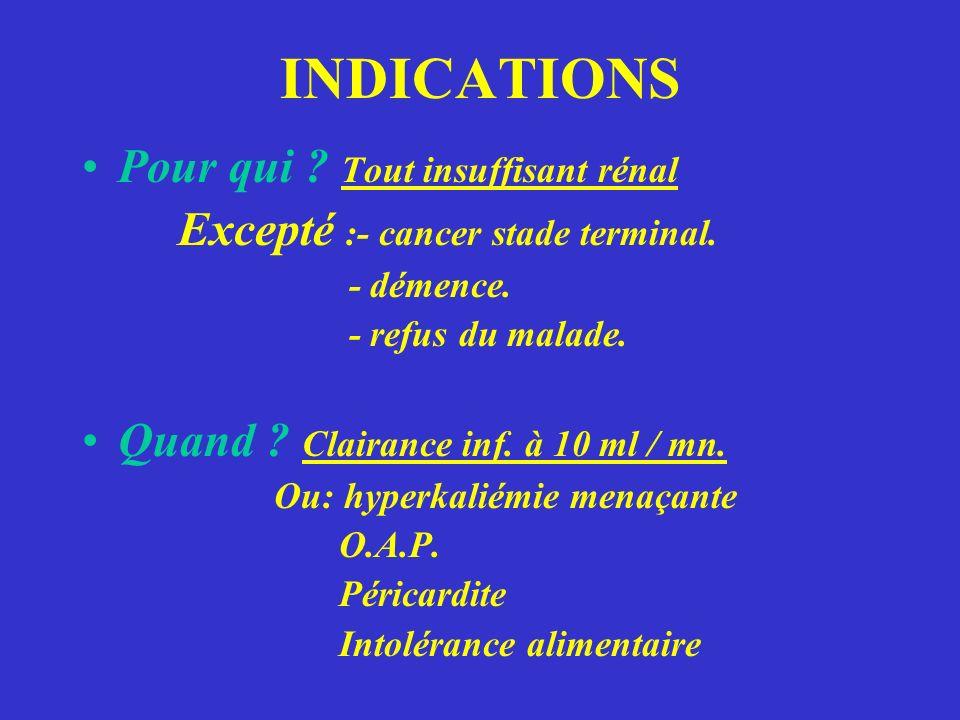 INDICATIONS Pour qui .Tout insuffisant rénal Excepté :- cancer stade terminal.
