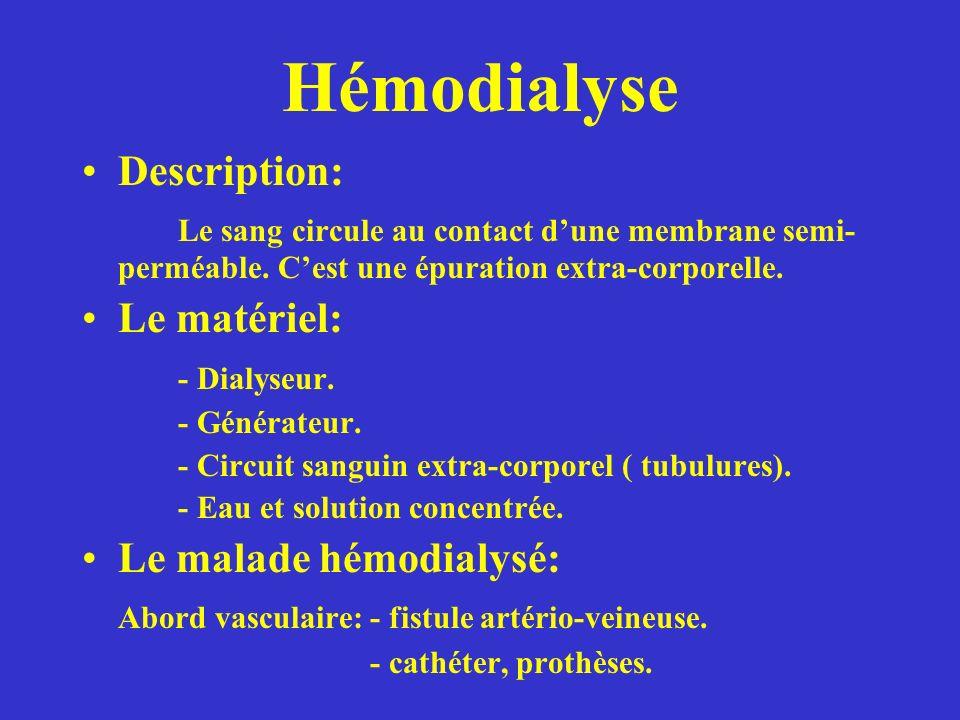 Hémodialyse Description: Le sang circule au contact dune membrane semi- perméable.