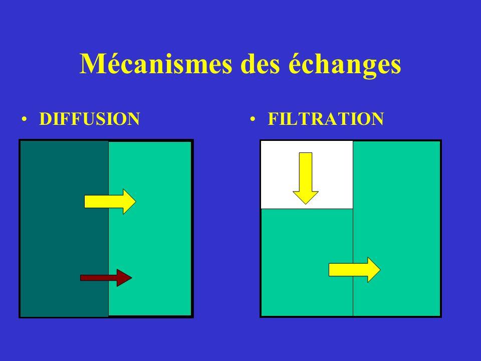 Mécanismes des échanges DIFFUSIONFILTRATION
