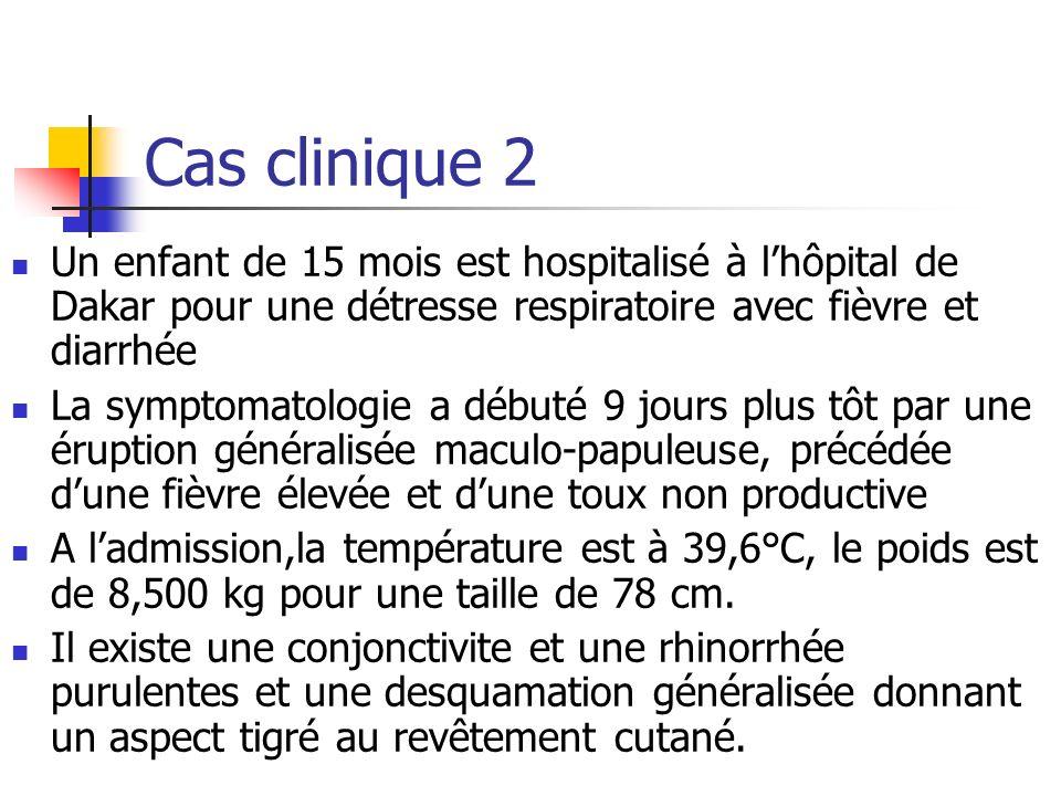Cas clinique 2 Un enfant de 15 mois est hospitalisé à lhôpital de Dakar pour une détresse respiratoire avec fièvre et diarrhée La symptomatologie a dé